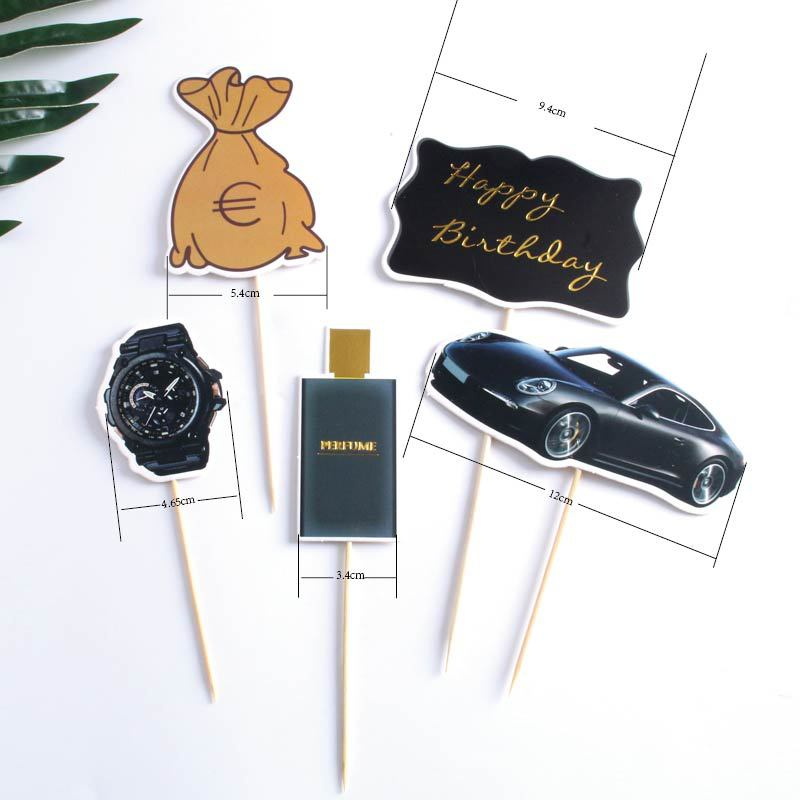 Image 2 - 5pcs Rich Dream Money Car Theme Cake Topper Adult Happy Birthday Birthday Party Supplies Cake Decorating  Wedding Cake Topper-in Cake Decorating Supplies from Home & Garden