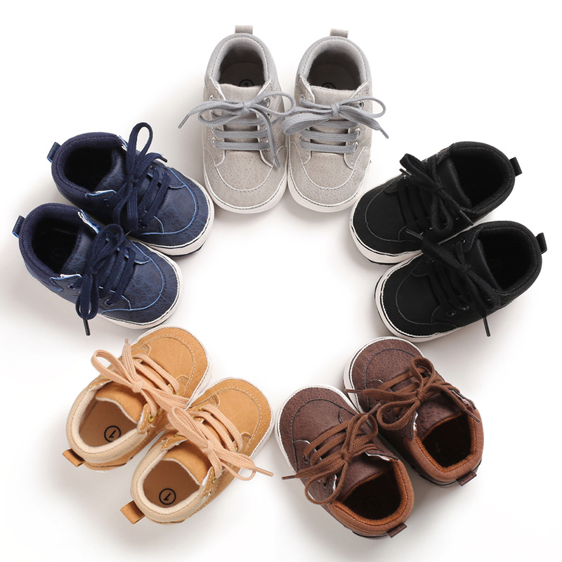 Baby Sneakers Toddler Shoes Moccasins 0-18Months High Top PU Infant First Walker Soft Sole Boys Girls Shoes Newborn Crib Shoes
