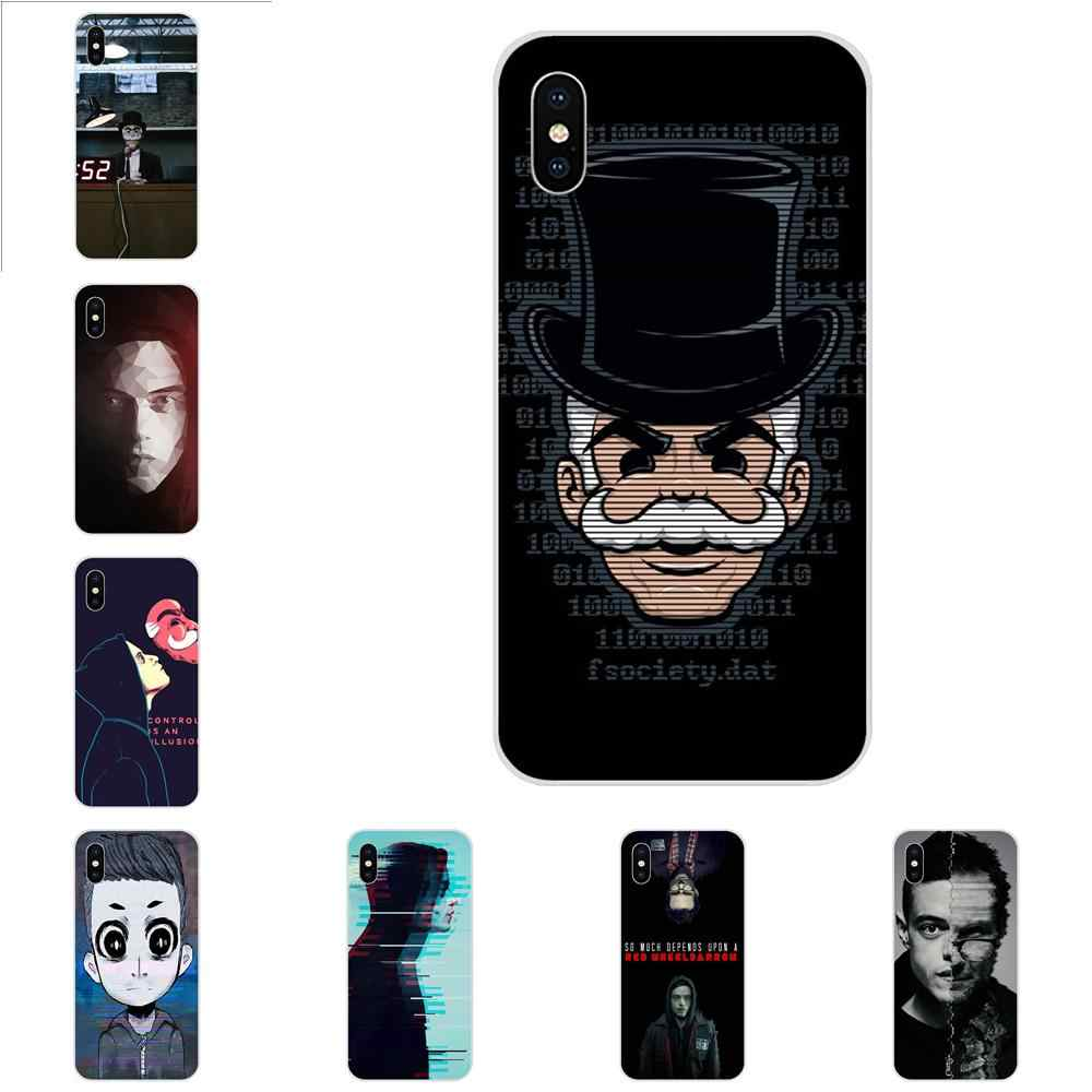 Custodia Morbida trasparente Americano USA TV Mr Robot Per Samsung Galaxy Note 5 8 9 S3 S4 S5 S6 S7 s8 S9 S10 5G mini Bordo Più Lite