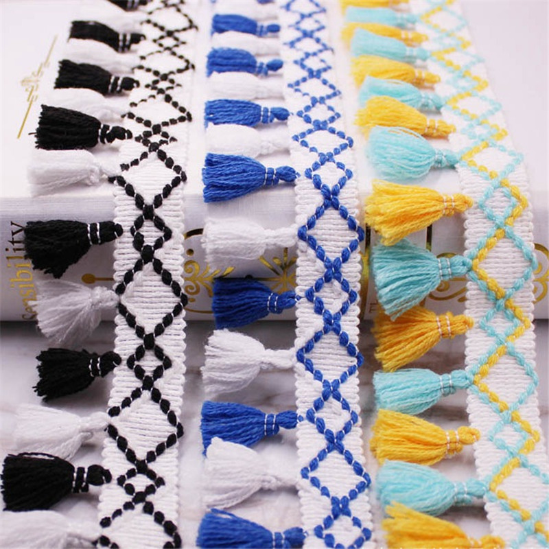 Cotton Tassel Lace Braid Pompom Trim 55mm Wide for Sewing Dress Accessories