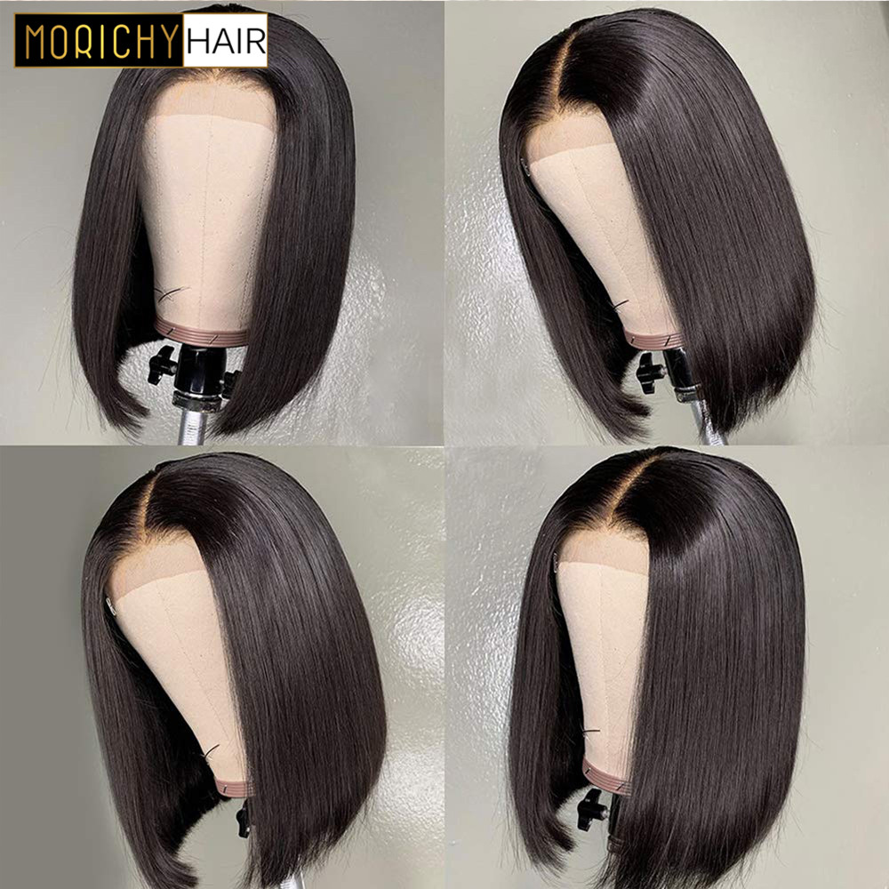 Morichy Hair Brazilian Straight Lace Closure Wigs Pre Plucked Natural Hairline With Baby Hair Human Hair 4x4 Closure Wigs