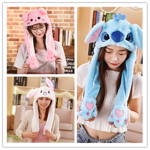Funny Hat Rabbit Hat Moving Ears Cute Cartoon Toy Hat Airbag Kawaii Funny Toy Cap Kids Plush Toy Birthday Gift Hat for Girls