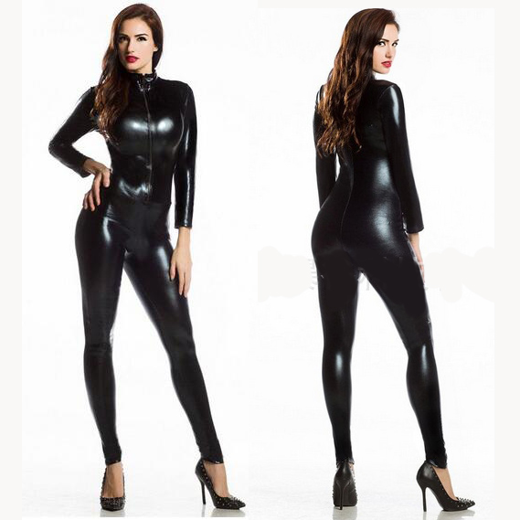 Bodysuit <font><b>Sexy</b></font> Women Spandex Full <font><b>Lycra</b></font> Zentai Black Turtleneck Long Sleeve Metallic Unitard Gymnastics Black Adult Shiny <font><b>Catsuit</b></font> image