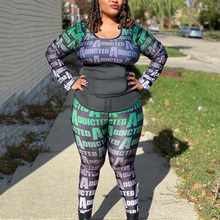 4xl 5xl Plus Size Sets For Women Letter Print Blouse & Pants Long Sleeve Bodycon Vintage Running Excerise Outfits Matching Sets
