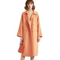 Autumn Cashmere Black Yellow Wool Long Coats Trench Womens Winter Jackets Ladies Oversized Outerwear Overcoat Woolen Coat Woman