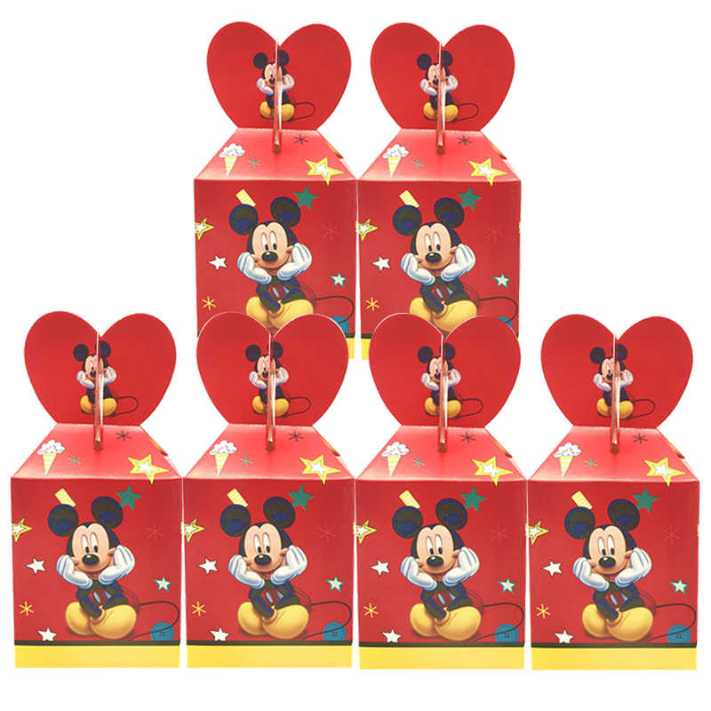 Disney Rode Mickey Mouse Thema Paper Candy Box Kinderen Dag Party Gift Dozen Wedding Decor Baby Shower Verjaardagsfeestje levert
