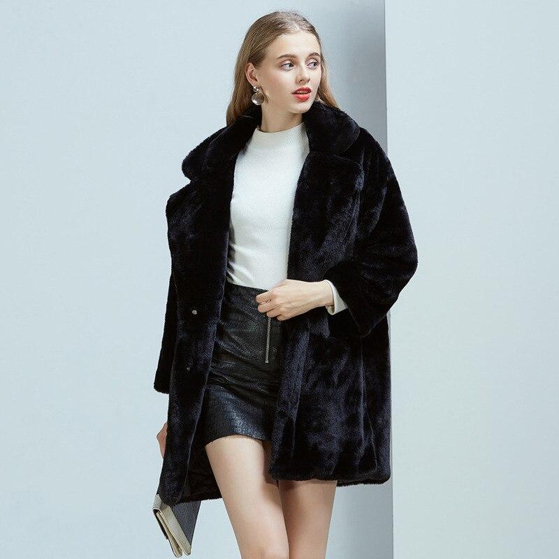 Faux Fur Coat Furry Jacket Winter Coat Women 2020 Long Imitation Rabbit Fur Coats Female Jacket Manteau Femme KJ984