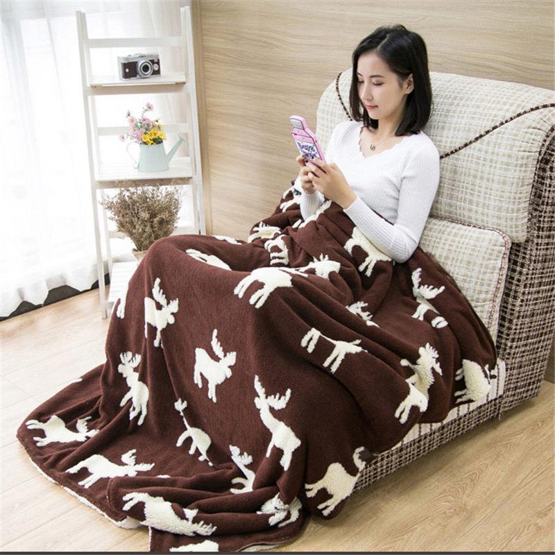 Mmultifunción de una pieza de pijama manta chal capa con manga gruesa caliente edredón ropa de casa señora invierno franela ropa de dormir f2058 - 5