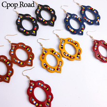Cpop New Flower Genuine Leather Earrings Colorful Beads Hollow Dangle Fashion Jewelry Women Accessories Hot Sale Gift
