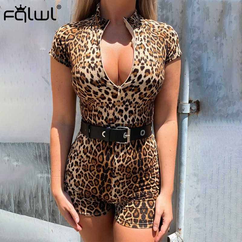 FQLWL Zipper Skinny Summer Sexy Rompers Womens Jumpsuit Female Playsuit One Piece Bodycon Short Ladies Leopard Jumpsuit Women