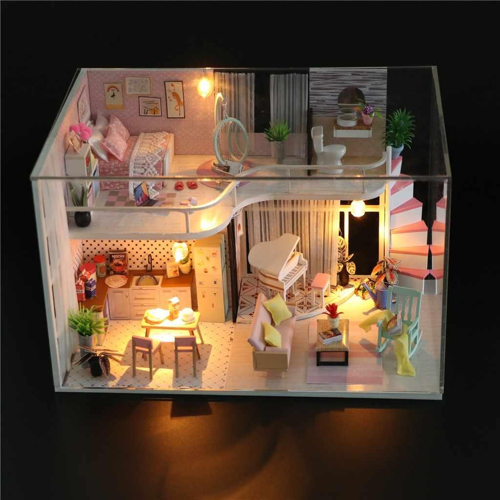 Diy Кукольный дом Миниатюрный светодиодный светильник кукольный домик модель деревянные крафтовые миниатюры головоломка домашнее украшение-кукла игрушечные дома подарок для детей