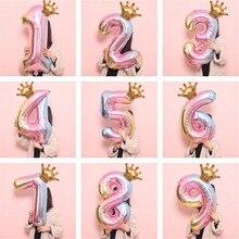 globos cumpleaños Silver number foil birthday balloons set digit 0-9 crown helium air boy or girl birthday party supplies globo0