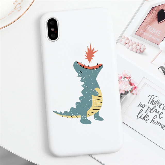 Cute Dinosaur White Matte Iphone Case (5 to 11 Pro Max)