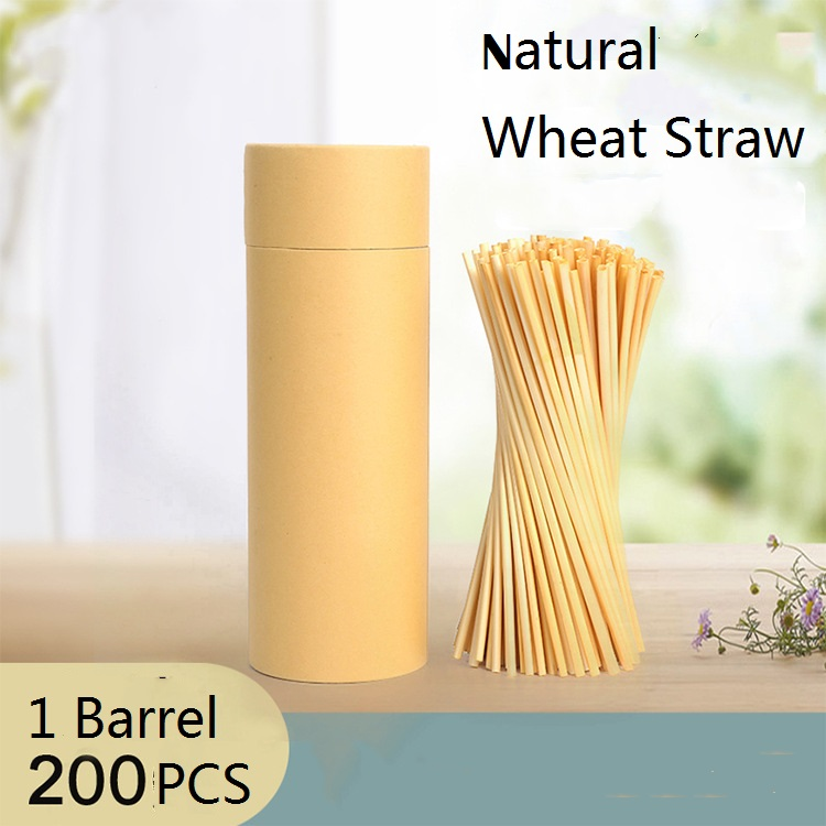 Drink&Art 200PCS / Pack Natural Wheat Straw Disposable Straw for Bar Birthday Party 100% Biodegradable Eco-Friendly