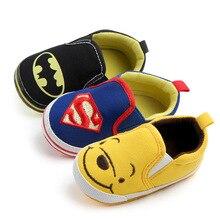 Gran oferta de zapatos de lona para bebés de estilo de personaje de dibujos animados, mocasines para bebés, zapatos para primeros pasos de fondo suave, zapatos antideslizantes para bebés