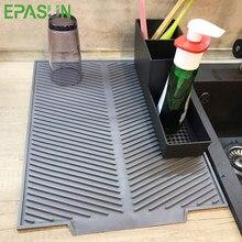 Silicona cuadrado plato de secado de alfombra resistente al calor de drenaje vajilla Dishwaser amortiguador duradero de vajilla de mesa mantel