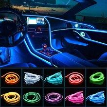 Kalada 1/2/3/5m el interior do carro conduziu a luz de tira de néon para lâmpadas decorativas do automóvel tubo flexível veículo atmosfera ambiente iluminação