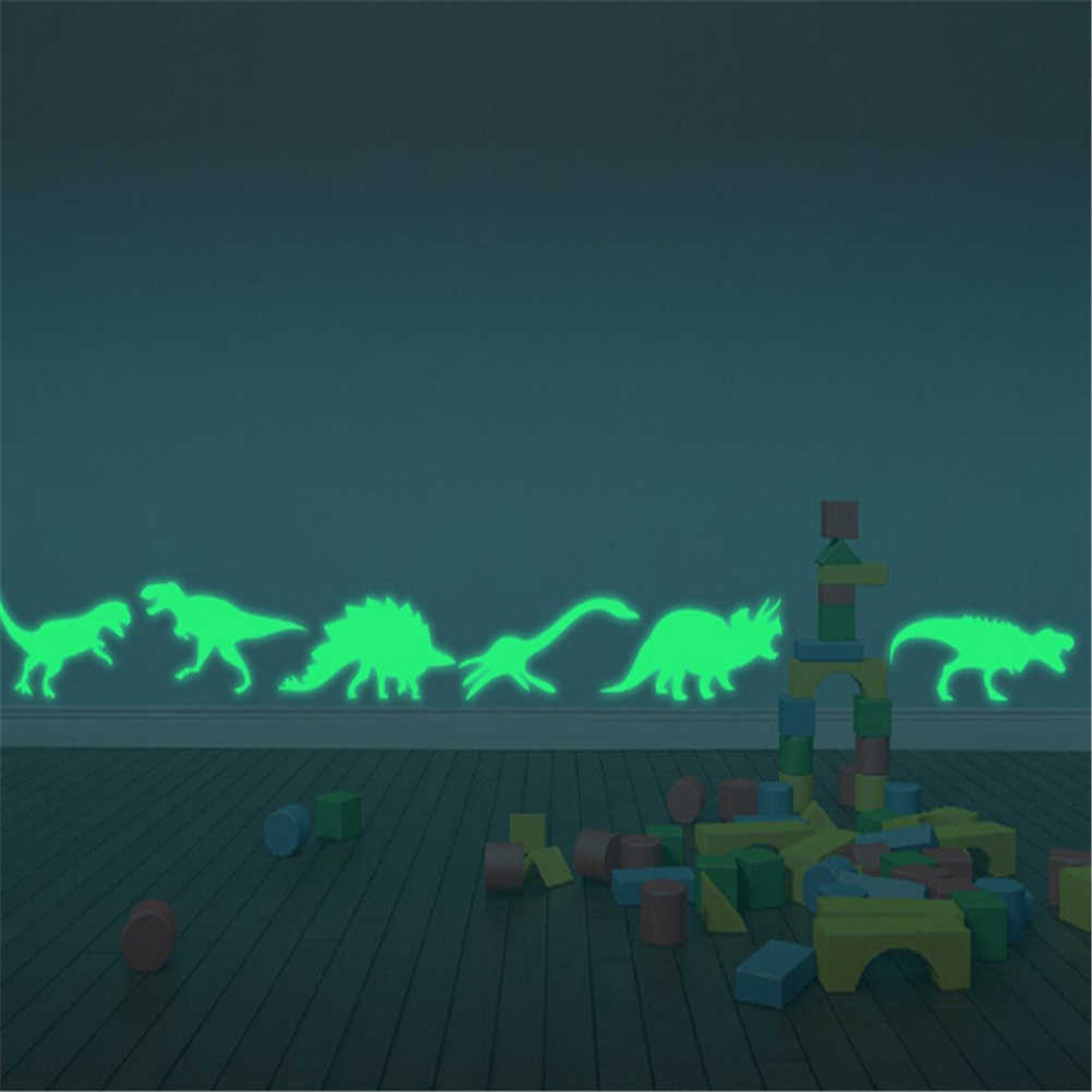 9PCS/Pack Dinosaur Glow In The Dark toy Stickers Luminous Home Decor Decal Baby Kids Room Fluorescent Stickers for kids gift