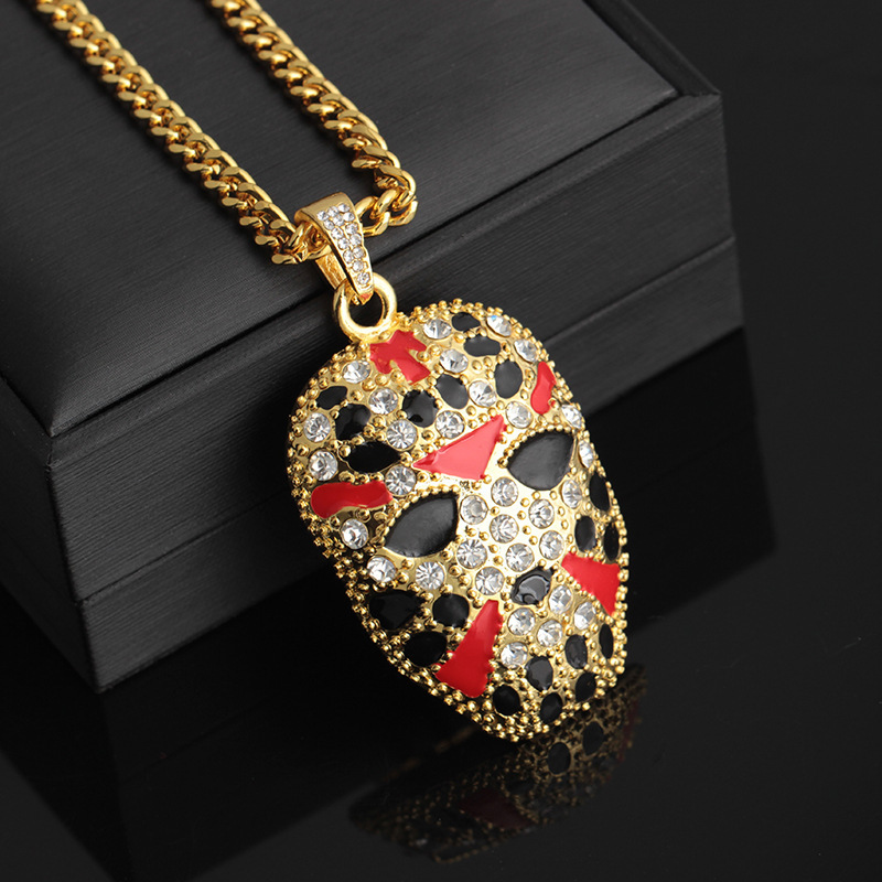 Rapper Boys Fashion Jewelry Rhinestone Facial Makeup Pendant Choker Painted Facebook Halloween Gifts Iced Out Hip Hop Necklace