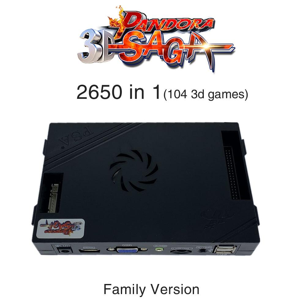 3D Pandora Saga Box 2650 in 1 Family Version Board 40p arcade PCB for free play Coin HD Video Jamma games HDMI VGA Motherboard(China)