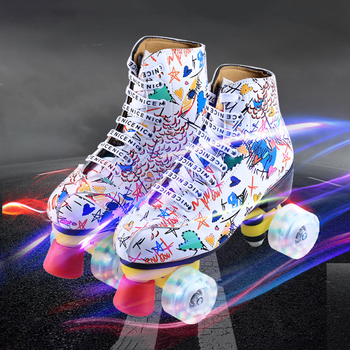 2020 Printed Black Lace-Up Artificial Leather Adult Double Row Roller Skates With Flash PU Wheel Brake Woman Man Roller Shoes