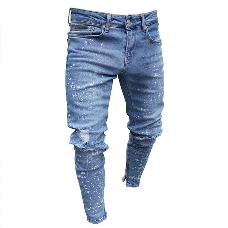 Mode Dünne Jeans Hohe Taille Loch Street Blau Denim Jeans Männer Seite Streifen Hosen Streifen Zerrissene Elastische Dünne Bleistift Jeans