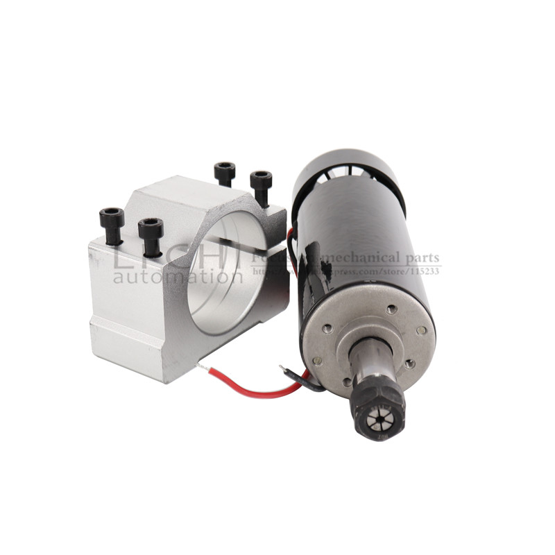 Image 2 - Free shipping 0.5kw Air cooled spindle ER11 chuck CNC 500W Spindle Motor + 52mm clamps + Power Supply speed governor For DIY CNC-in Machine Tool Spindle from Tools