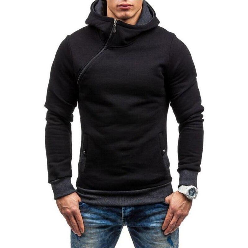 Winter Thicken Warm Hoodies Sweatshirts Brand Hooded Men Casual Bevel Zipper High Collar Coats Jackets Printed Hoodie