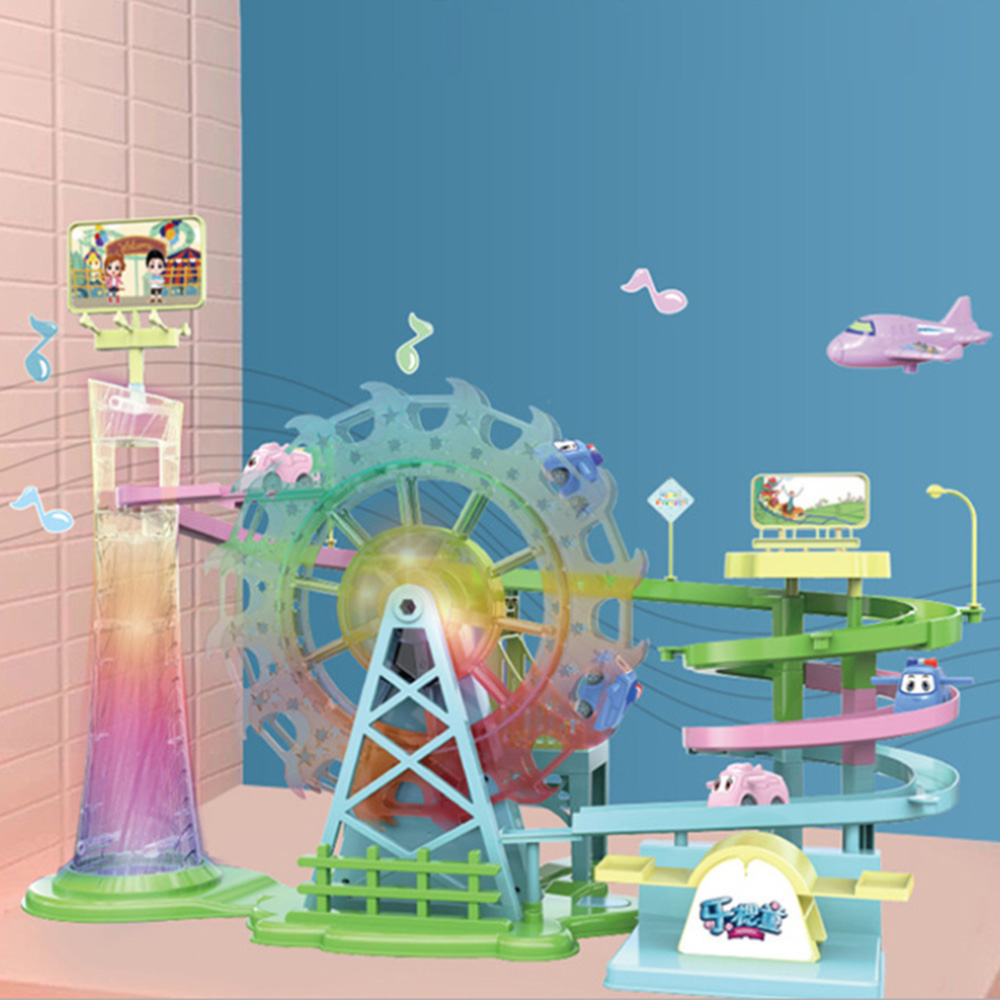 Piste jouet Macarons voiture points de contrôle aventure Rail voiture jouet enfants éducatifs grande roue véhicule Musical jouets avec lumière