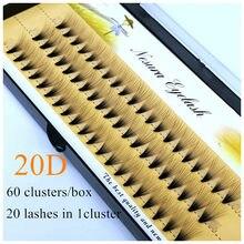 Cílios enxertados volume natural de c, 60 tufos/20d extensão de cílios feitos à mão, cílios de maquiagem profissional