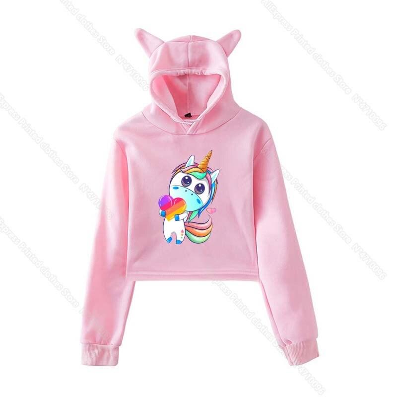 Girls Pink Cat Ear LIKEE Hoodies Cat Crop Top Likee App Hoodie Women Cartoon Unicorn Fox Sweatshirt Female Harajuku Streetwear 27