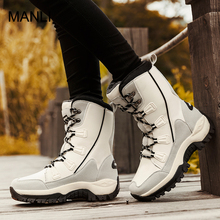 MANLI Women Winter Boots Non-slip Outdoor High-top Hiking Shoes Rainboots Waterproof Plush Warm Sneakers Work Safety