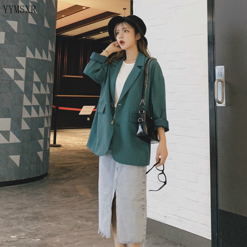 Autumn and winter new women's jacket coat Casual High Quality Single Breasted Loose Green Ladies Blazer Top Fashion small suit