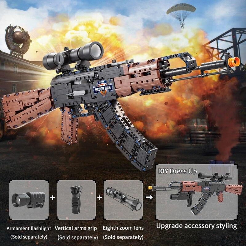 SWAT Military WW2 Weapon Riffle Gun AK47 Building Blocks Models Compatible Legoing Technic Pistol Gun Bricks Toys For Kids Gift