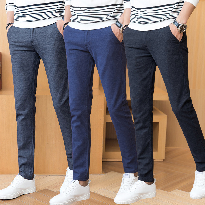 2019 Spring Summer Autumn Men Pencil Pants Grey Black Blue Streight Male Young Full Length Long Chino Slim Man Trousers