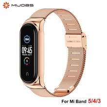 For Xiaomi Mi Band 5 4 3 Strap Wristband Mi Band 4 Bracelet Metal Strap For Mi Band 3 Xiomi Miband 5 4 3 Watchband Stainless