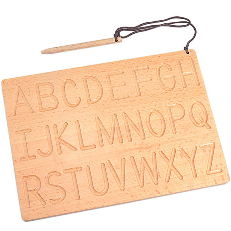 Montessori English Aphabet Uppercase & Lowercase Letters Board Digitals Number 0-9 Writing Training Toys for Students Preschool