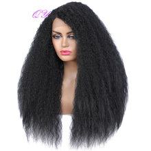 QY Lace Front Wig Long Black Kinky Straight Wig For African Women Synthetic High Temperature Fiber Bob Straight Hair Wig