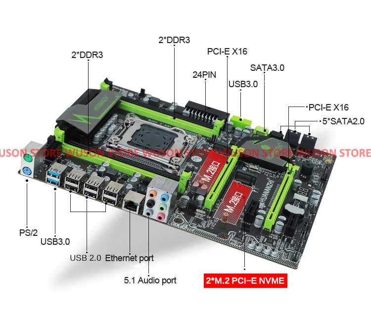 HUANAN ZHI X79 motherboard with M.2 slot discount motherboard with CPU Intel Xeon E5 2660 C2 SROKK 2.2GHz RAM 32G(4*8G) REG ECC