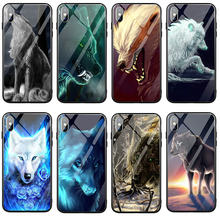 Tempered Glass Mobile Phone Case Cover for iPhone 8 7 5 5S SE 6 6S Plus X XR XS 11 Pro Max 10 Shell Animal Colorful Wolf Cool(China)