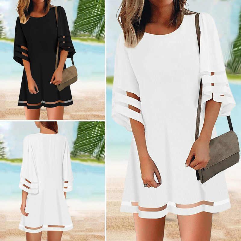 VONDA été blanc robe femmes Vintage 3/4 Flare manches creux fête Vestido 2020 vacances robe plage robe d'été grande taille S-5XL