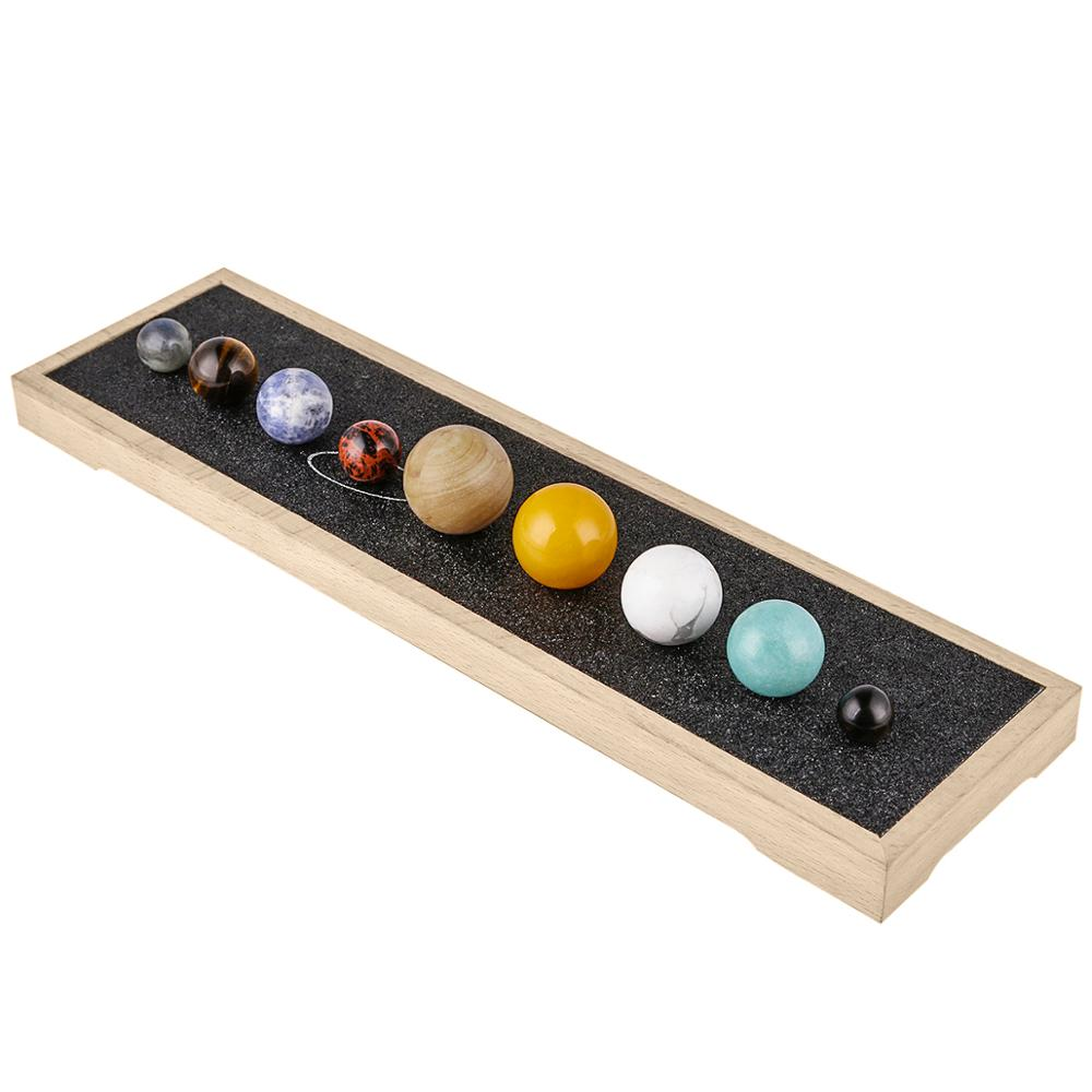 TUMBEELLUWA Solar System Planets Reiki Crystals Stones Kit Office Home Desk Decor Chakra Gemstone Ball With Wood Box For Healing