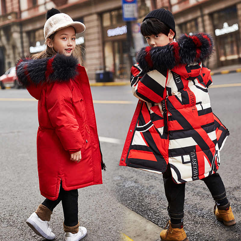 2019 Children's Duck Down Jacket Long Thick Boys Winter Coat Kids Jackets For Girls Outerwear Fur Collar Outdoor Hooded Snowsuit