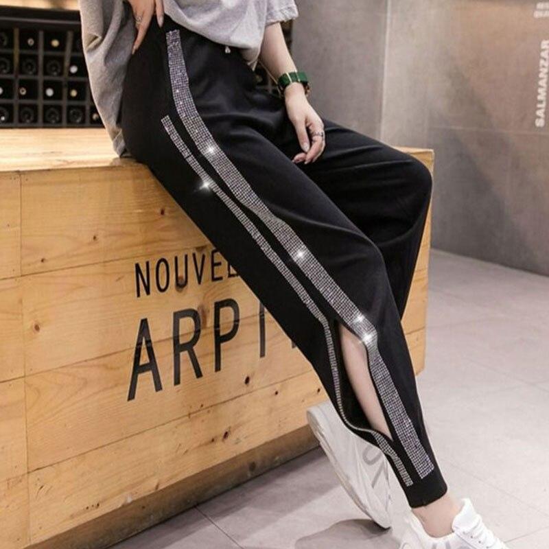 Женские брюки с высокой талией, повседневные Джоггеры в Корейском стиле с эластичной резинкой на талии, стразы, шаровары, лето 2020|Брюки |   | АлиЭкспресс