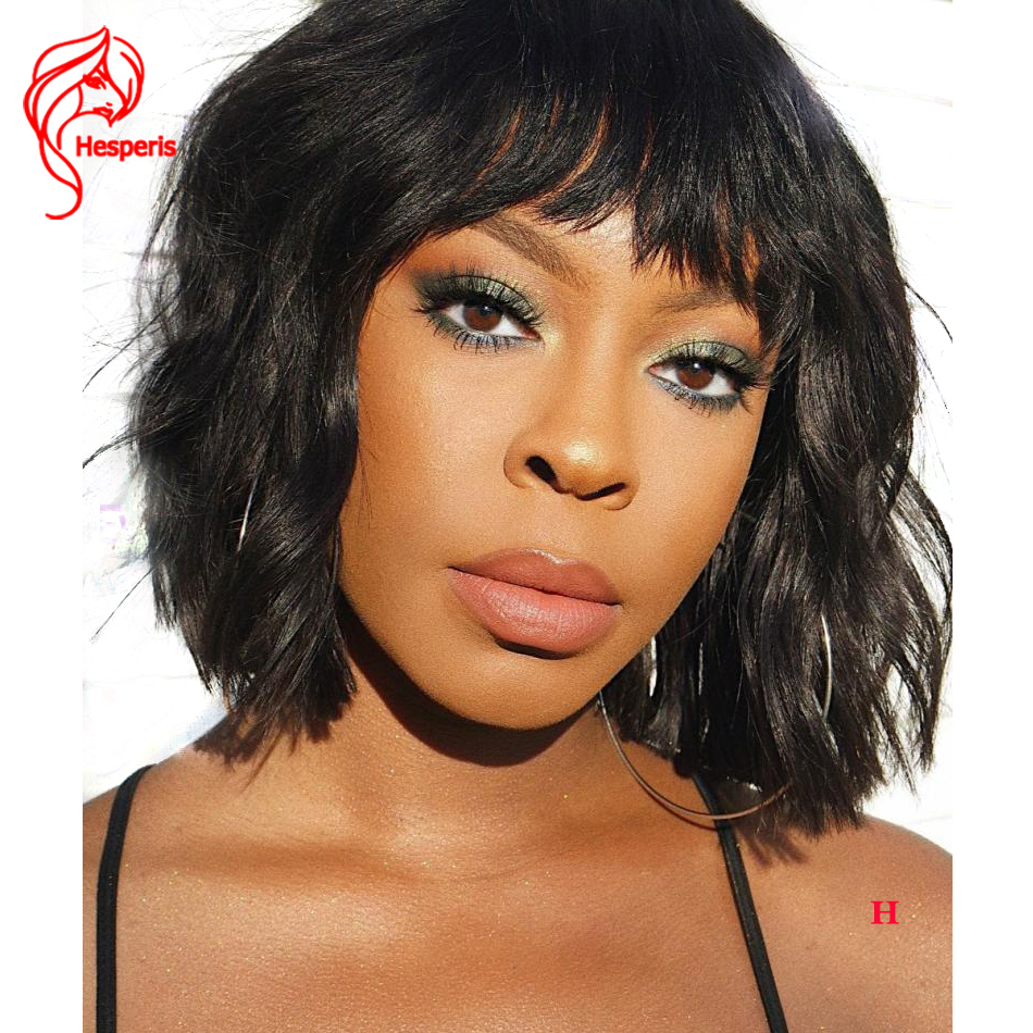 Hesperis Bob Lace Front Wigs For Women Brazilian Remy Lace Front Human Hair Wigs With Bang Short Bob Cut Lace Wig With Bang