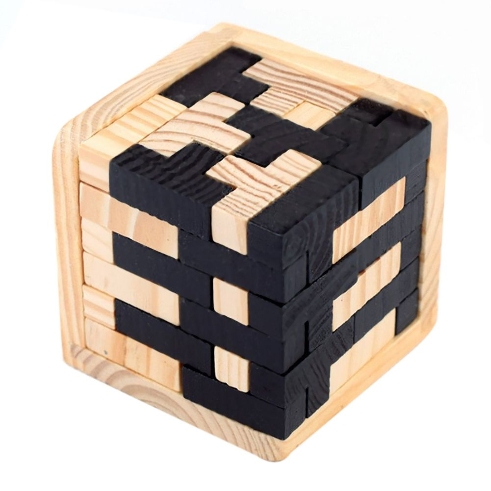 3D Wooden Puzzles Brain Teaser 54 T-Shaped Blocks Geometric Intellectual Jigsaw Logic Puzzle Educational Toy For Toddlers Kids A