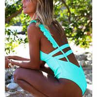 2019 Sexy Einem Stück Badeanzug Weibliche Bademode Frauen Drucken Floral Bandage Rüschen Brasilianische Monokini