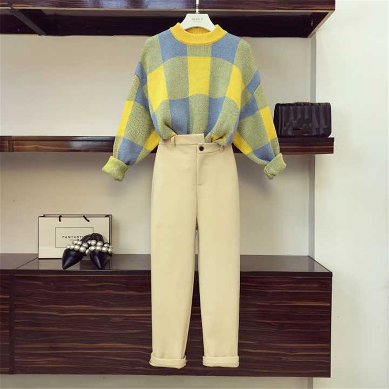 Fall Winter Woolen Pants Sweater Set 2 Piece Sets Women Plaid Pullover Knitted Sweater + Chic Pencil Pants Ladies Tracksuits