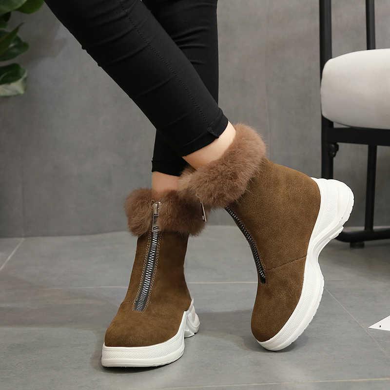 Rimocy Faux Fur Hidden talones Botines Mujer invierno grueso cálido Zapatos Mujer cremallera botas De nieve cuñas negro Zapatos De Mujer