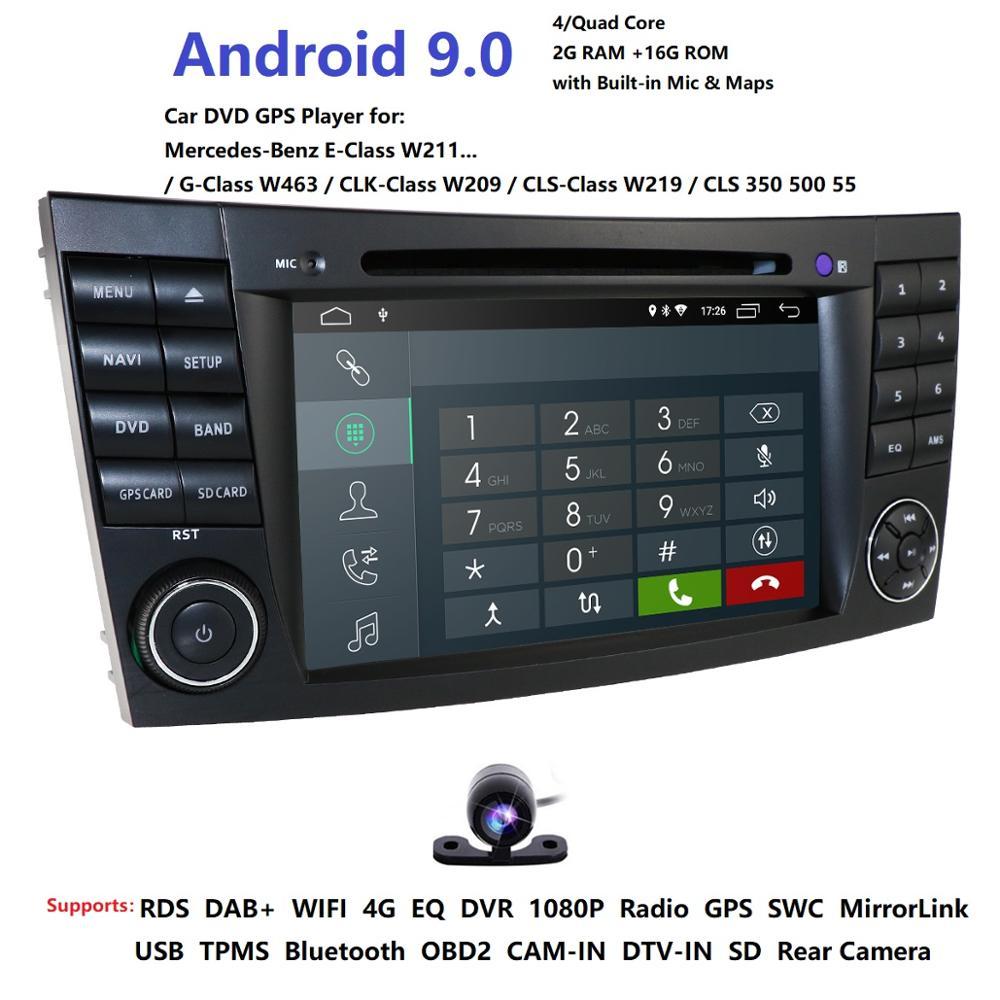 Lecteur DVD de voiture IPS 4G Android 9.1 2 din pour Mercedes Benz classe E W211 E200 E220 E300 E350 E240 E270 E280 CLS classe W219 DAB SD